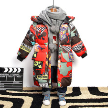 Jacket Parkas Long-Coat Teenagers Boys Winter Children Hooded for Brand Graffiti Thick
