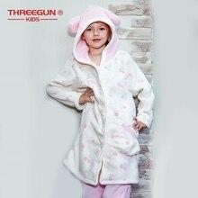 THREEGUN Kids Bathrobe + Pants Set Flannel Children Girls Bath Robe Sleepwear Winter Velvet Warm Clothing Pajamas 9 12 Years