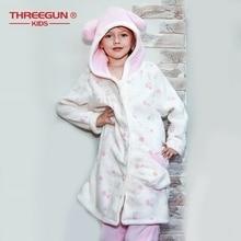 THREEGUN Kids crianças roupão + calças conjunto flanela crianças meninas banho robe sleepwear inverno veludo quente roupas pijamas 9 12 anos