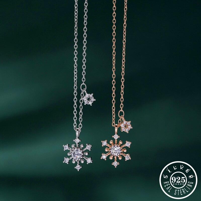 925 Sterling Silver CZ Zircon Snowflake Chain Bracelet Women Lady Jewellery Gift
