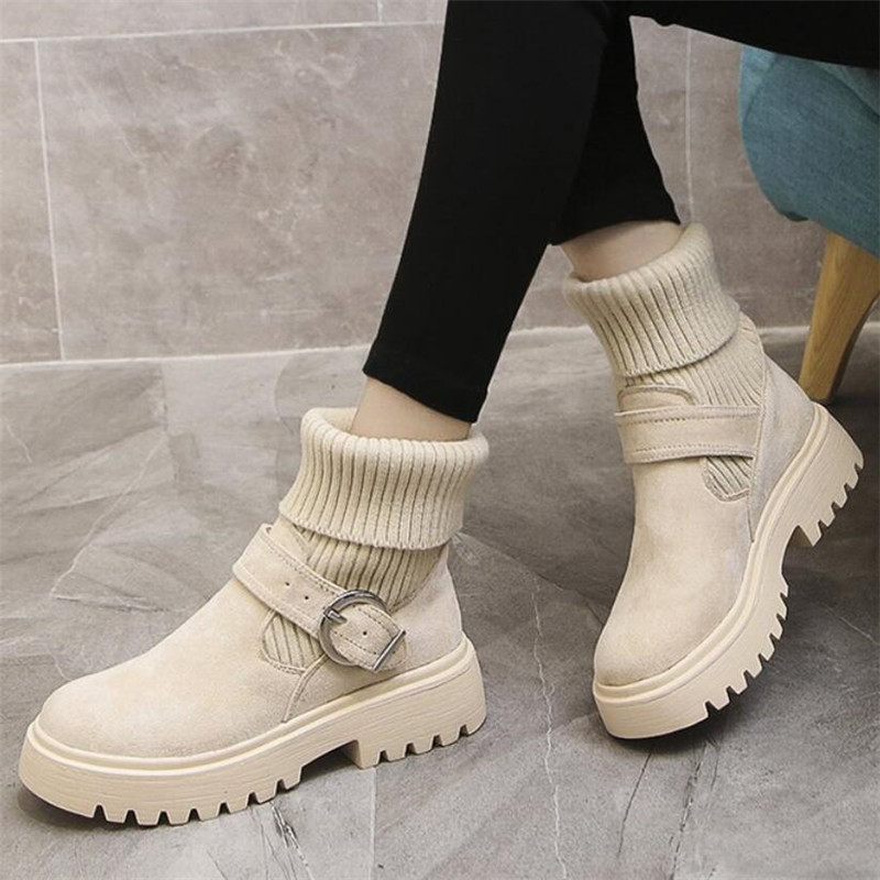 Mhysa 2019 New Fashion Platform Winter Boots Women Shoes Black Martin Boots suede Leather slip-on Ankle Boot Buckle Botas Mujer 67