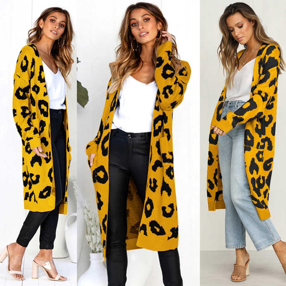 Joineles осень зима Модные леопардовые женские длинные кардиганы уличная карманы утолщаются теплые вязаные женские свитера Повседневный Кардиган