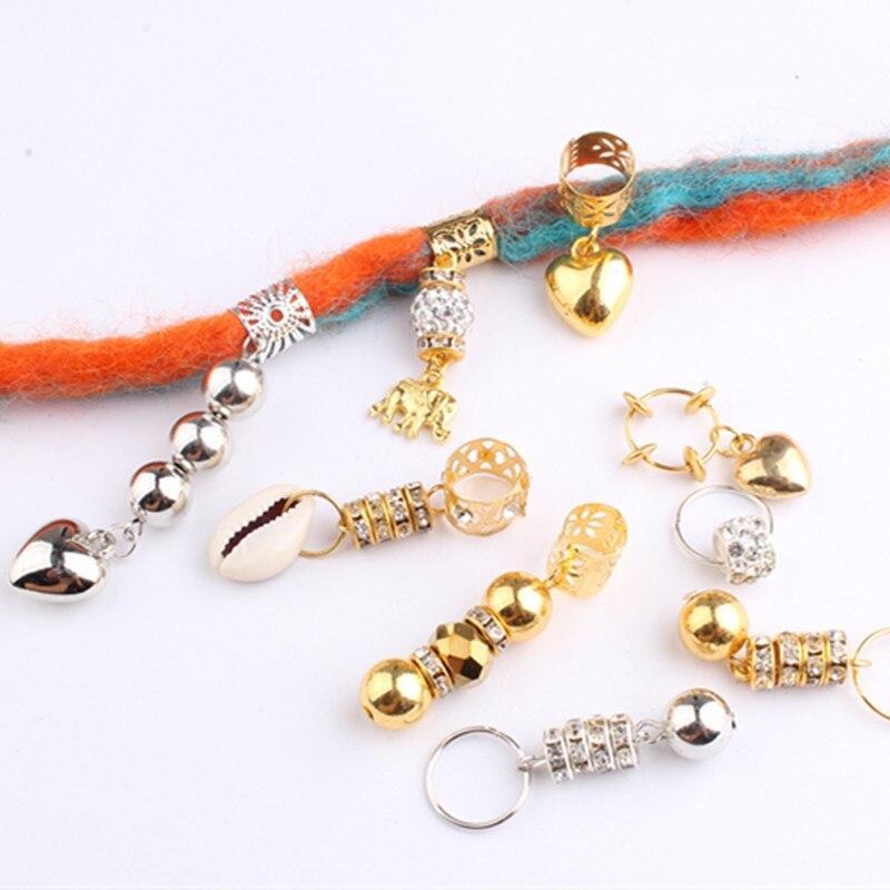 5 шт. цвет серебристый, Золотой подвязанные лентой, с объемной волной дреды шарик волос кольцо манжеты, подвеска в виде трубочки, дредлоки, дл...