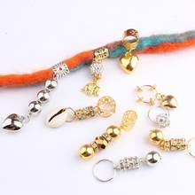 5 pçs prata ouro cabelo trança dreadlocks grânulo anel de cabelo punhos dreadlock tubo charme trança extensão estilo ferramentas acessórios