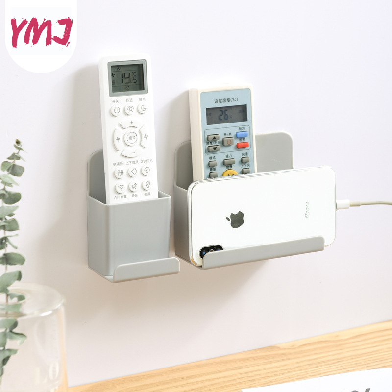 Wall Mounted Organizer Storage Box Remote Control Air Conditioner Storage Case Mobile Phone Plug Holder Stand Container 2 Sizes title=
