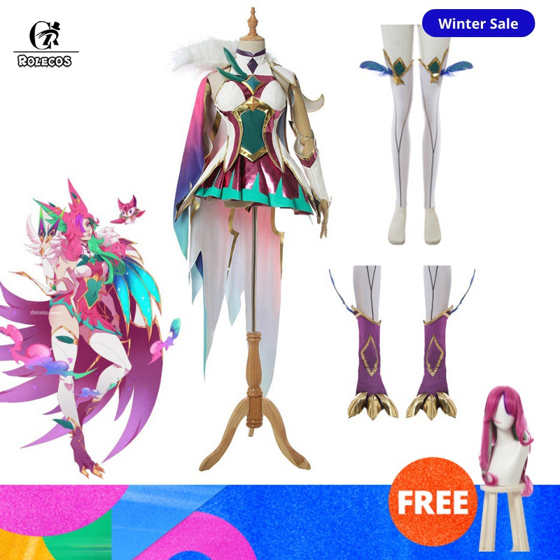 ROLECOS Star Guardian Xayah Cosplay Costume LOL Light Xayah Cosplay The Rebel Game Costume Women Xayah Cape Shoe Cover Halloween