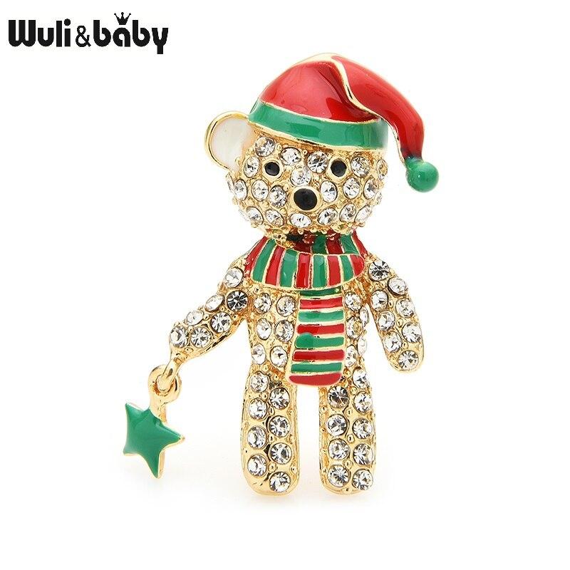 Wuli & baby, брошь в виде полный Мишка со стразами броши для женщин шляпа из эмали медведя для рождественских праздников, животное, брошь с застеж...