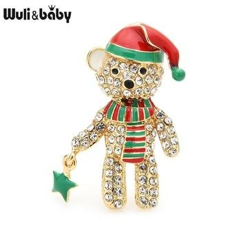 Wuli&baby Full Rhinestone Bear Brooches For Women Enamel Hat Bear Christmas Animal Brooch Pins Gifts rhinestones christmas hat brooch