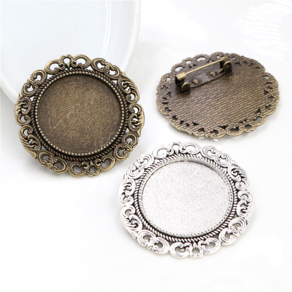 New Fashion 5pcs 25mm Inner Size Antique Silver Bronze Colors Brooch Baroque Style Cabochon Base Setting