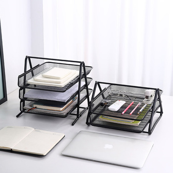 A4 Paper Organizer Rack Document File Tray Letter Book Magazine Holder Metal Wire Mesh Tray Rack Shelf Office Storage Holder hua jie 1pc plastic magazine sleeve holder a4 letter display layers desk organizer 3 tier file folder tray document storage rack