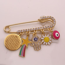 AYATUL KURSI muslim islam Allah Turkish evil eye pink brooch baby pin
