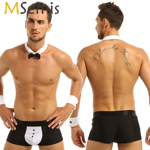 Men Tuxedo Lingerie Butler Waiter Tuxedo Suit Boxer Underwear with Bow Tie Collar Bracelets Sissy Pouch Panties Roleplay Costume(China)