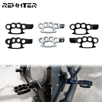 Motorcycle CNC Flying Knuckle Foot Peg 2PCS Aluminum Black/Chrome Footpegs Custom Footrest For Harley XL Sportster 1200 883 Dyna