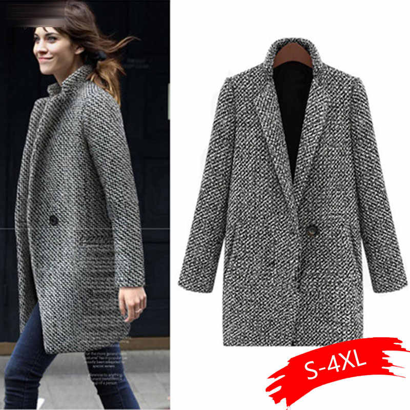 Women Winter Casual Long Sleeve Houndstooth Button Coat Gray Autumn, Outerwear Casual, Street, Outdoor, etc