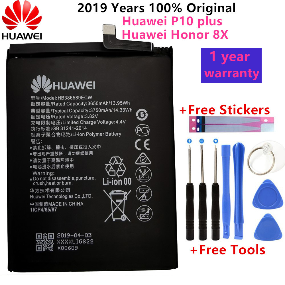 Hua Wei Original 3750mAh HB386589ECW Battery For Huawei P10 Plus Honor 8X View 10 V10 BKL-L09 BKL-AL20 BKL-AL00 Batteries +Tools