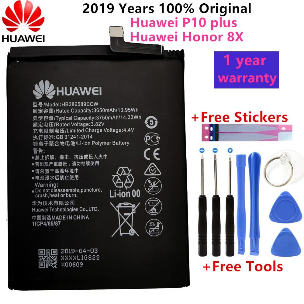 Hua Wei Original 3750mAh HB386589ECW Battery For Huawei P10 Plus Honor 8X View 10 V10 BKL-L09 BKL-AL20 BKL-AL00 Batteries +Tools