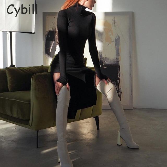 Cybill Long Sleeve Turtleneck Midi Dress Split Autumn Winter Ribbed Knitted Dress Casual Red Black Dresses Women 2