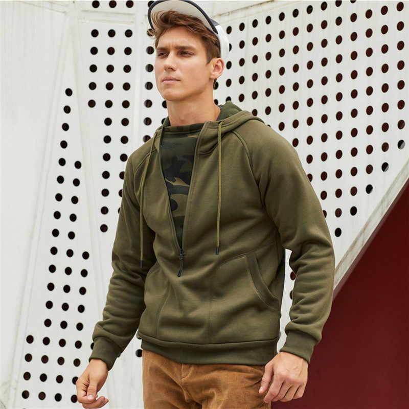 Eu 미국 크기 남자 까마귀 자 켓 패션 남자 스웨터 솔리드 패치 워크 두건 캐주얼 위장 streetwear hooides 지퍼 남자