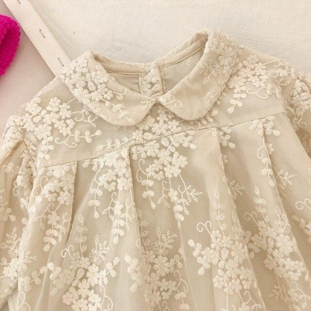 Filles dentelle robe automne 2019 nouvelles filles coréennes à manches longues sur broderie princesse robe filles robe dhiver