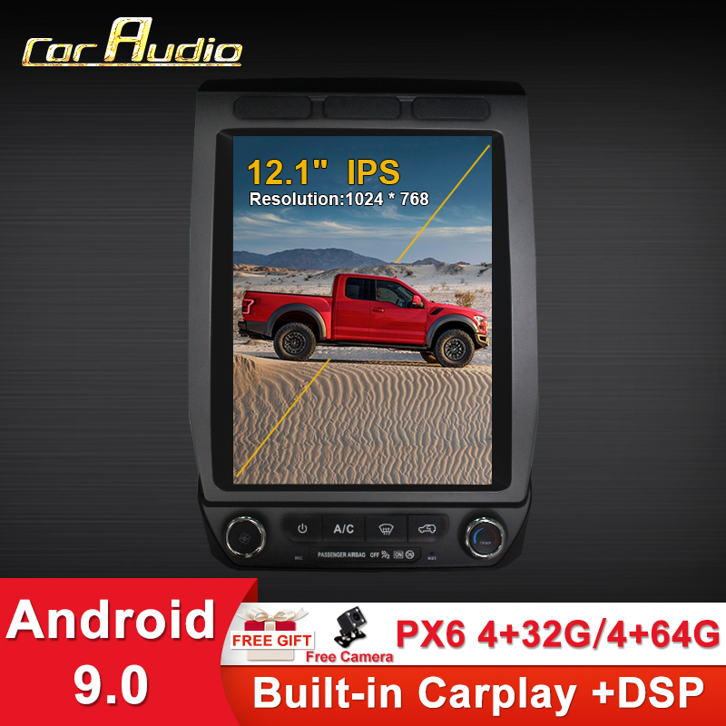 Android 9 12.1 inch PX6 Tesla style Car <font><b>GPS</b></font> Navigation For Ford Raptor F150 2015- Auto Radio Stereo Multimedia Player Head Unit image