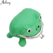 Aelicy Coin Purse Wallet Holders Handbag Cute Green Frog Coin Bag Wallet Purse Cosplay Anime Plush Toy Funny Frog Coin Purse(China)