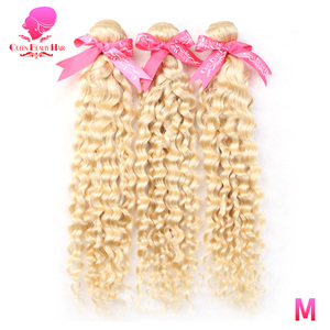 Image 2 - QUEEN BEAUTY 1 3 4 Pcs 613 Blonde Bundles Brazilian Curly Weave Human Hair Blonde Deep Wave 8   30 inch Hair Weft Free Shipping