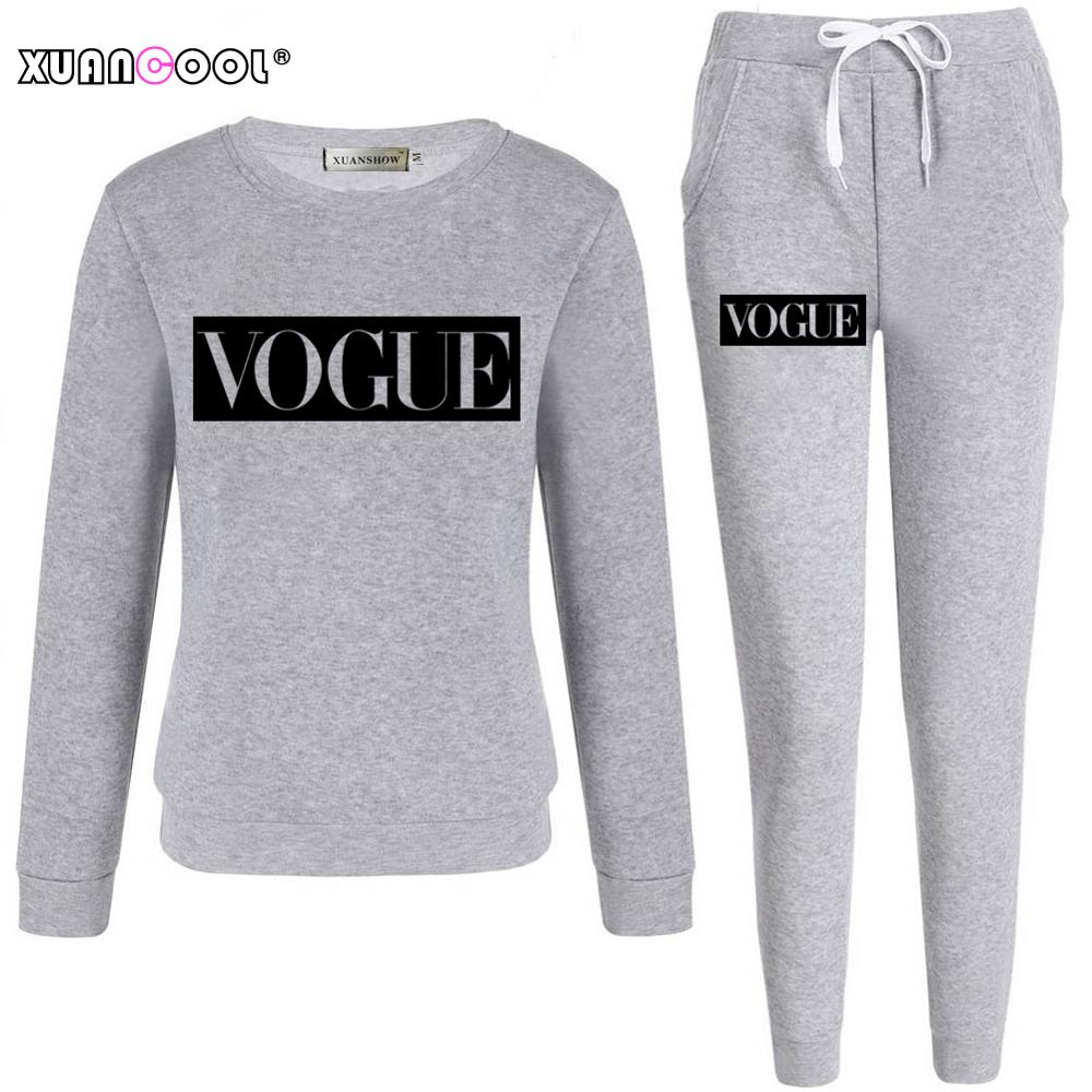 XUANCOOL 2020 Tracksuit For Women Autumn Winter Fashion VOGUE Letters Long Sleeve Sweatshirt Long Pant Set Female Outfit S-XXL