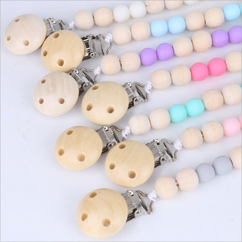 Hot Sale 1pc Dummy Clip Pacifier Chain Leashes Cases Baby Soother Wood Crochet Wooden Toys Non-toxic Baby Accessories