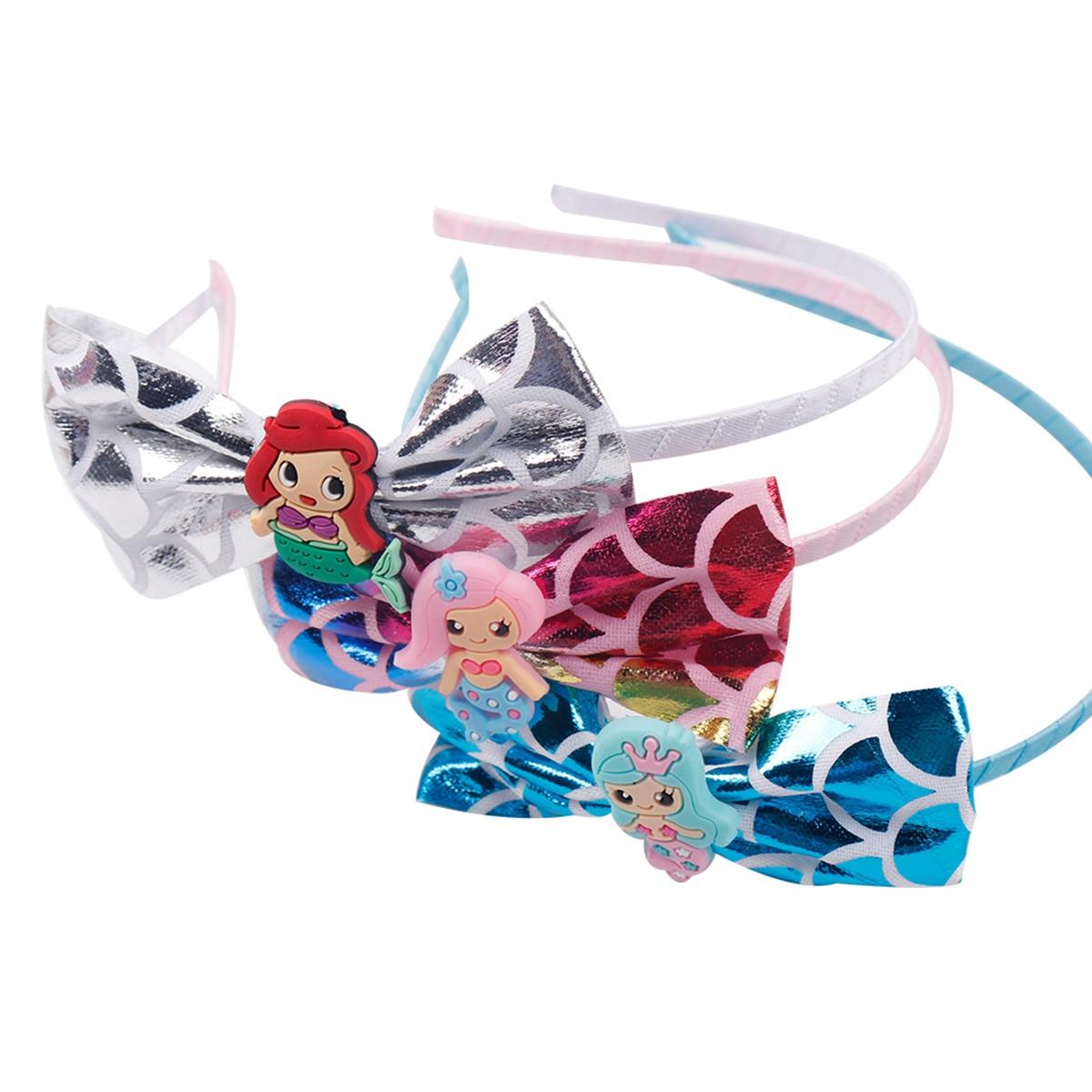 Cartoon Mermaid Baby Headbands For Girls  Handmade Princess Fish Scales Bow Baby Hairband Headband Newborn Hair Accessories New