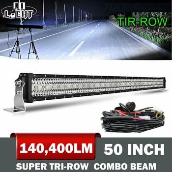 цена на CO LIGHT 12D Super Brighter 936W 4x4 Led Bar Offroad 50inch 3-Rows Spot Flood Combo Beam Light Bar for Tractors Boat Niva Trucks