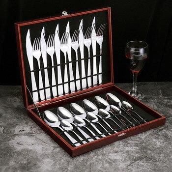 Vajilla De acero inoxidable con cuchillo para carne, Juego De cubiertos De...