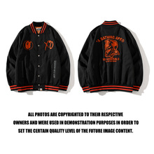 BAPE new jacket Japanese tide brand embroidery letter joint red edge stand-up collar cotton collar baseball uniform
