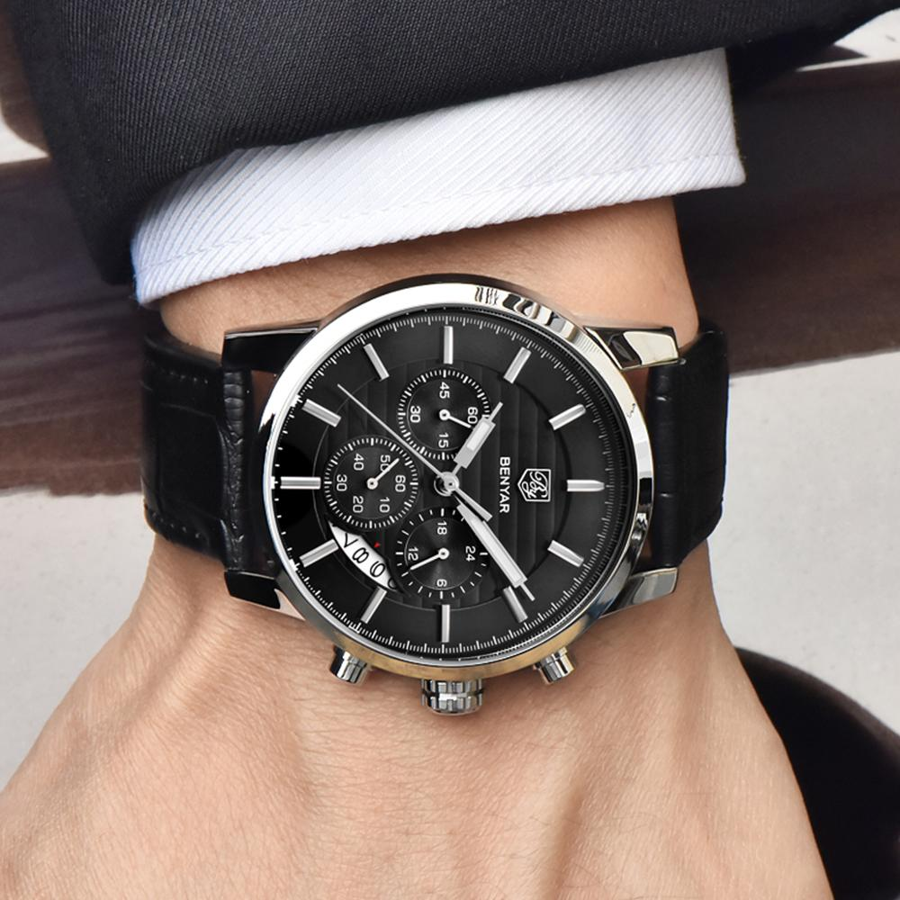 Reloj Hombre <font><b>BENYAR</b></font> 43mm Fashion Chronograph Sport Mens Watches Top Brand Luxury Military Quartz Watch Clock Relogio Masculino image