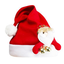 Children Cartoon doll pompom fur Christmas Cap Kids Funny Party Santa Claus Costume Besnies Hat Girls boy Winter Skullies Hats(China)