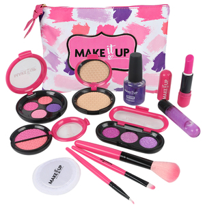 12pcs Children Makeup Set Beauty Pretend Play Simulation Cosmetic Bag For Children Baby Early Learning Educational Toys Girl Toy(China)