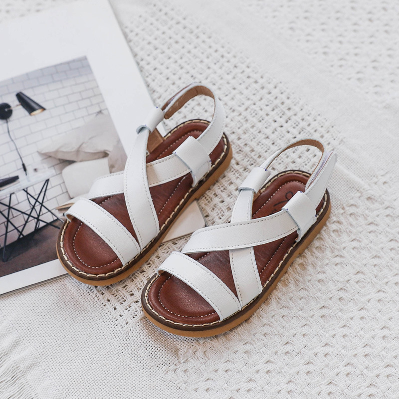 2020 New PU Leather Girls Shoes Kids Summer Baby Girls Sandals Roman Shoes Toddlers Infant Children Kids Shoes Black Silver