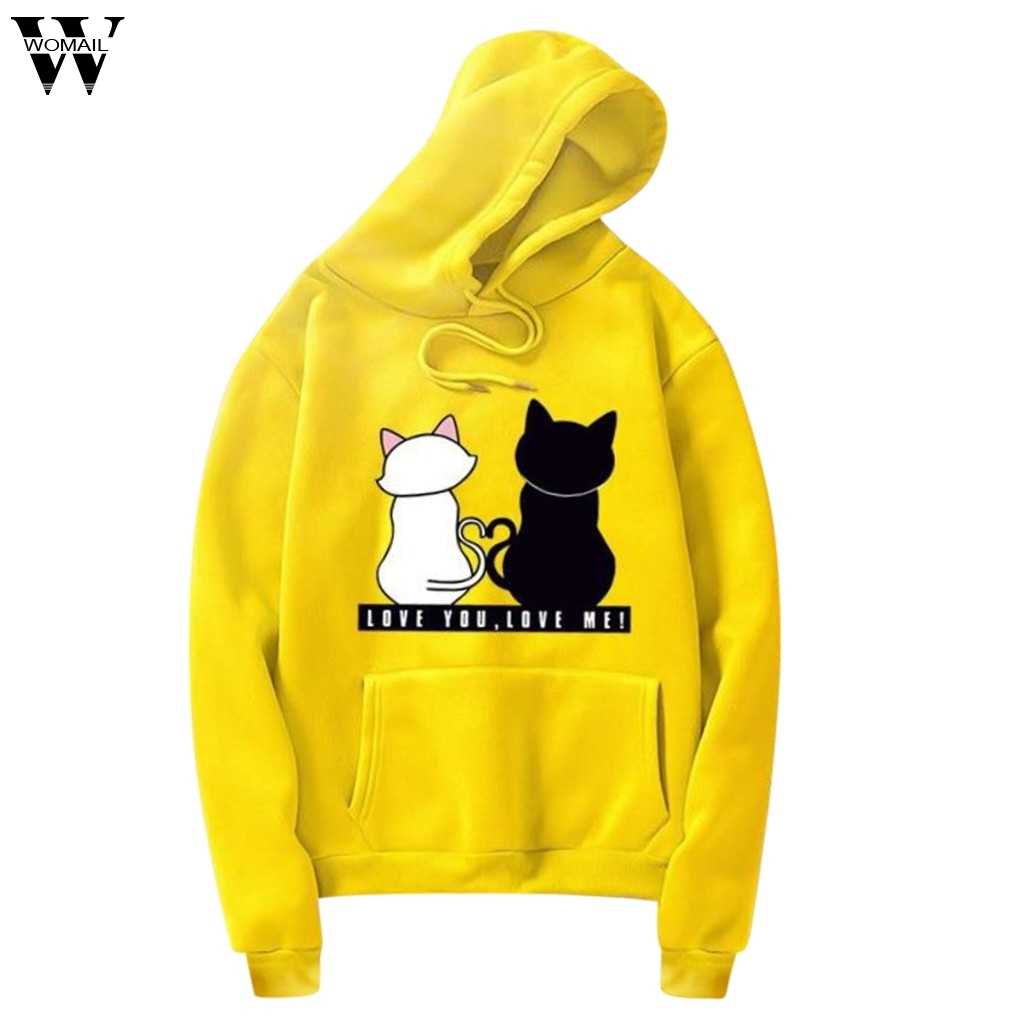 Womail Women Sweatshirt Unisex Men Women Casual Long Sleeve O-Neck Cat Printed Sweatshirt Pullover women patchwork  S-3XL