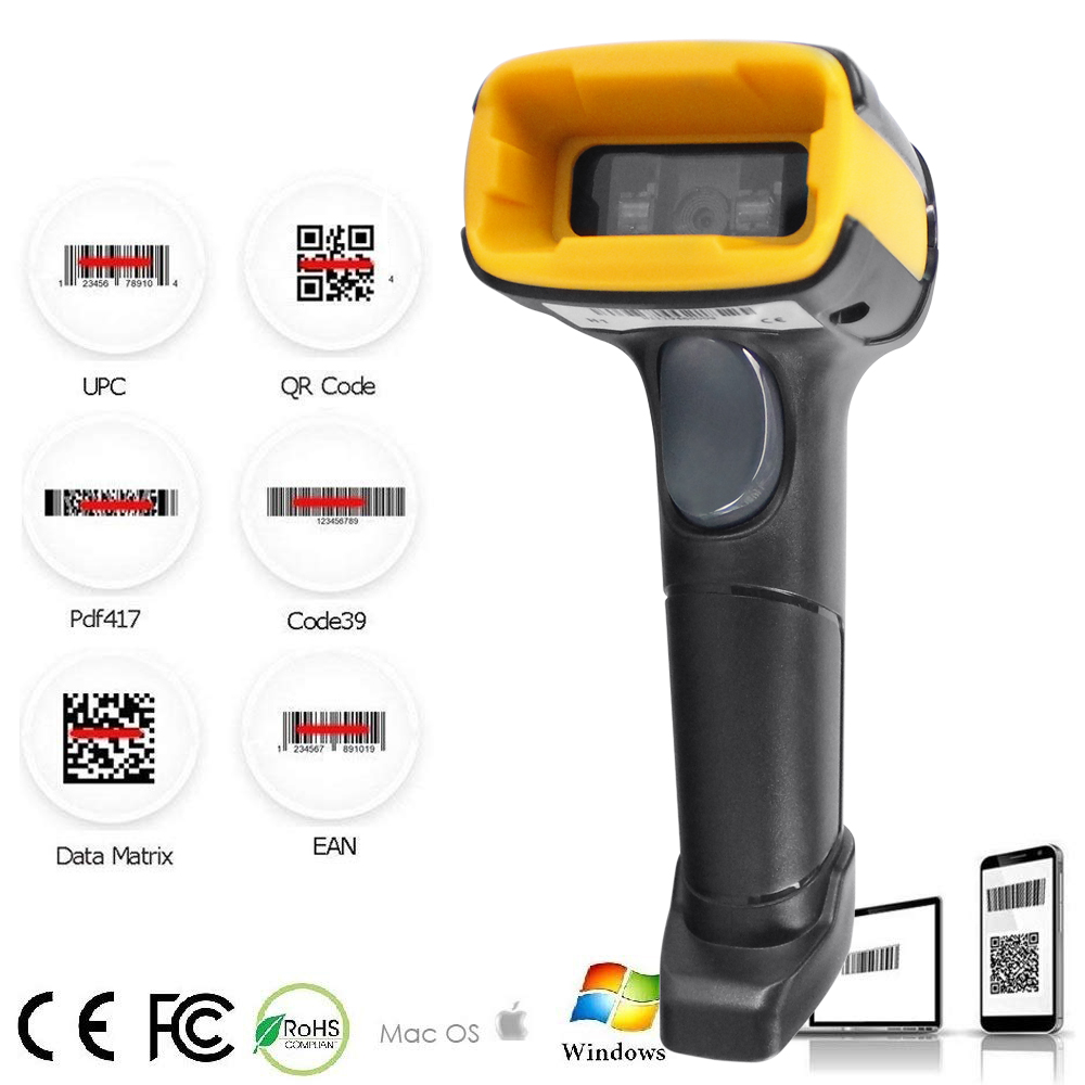 Wireless 2D Barcode Scanner Long Distance Transfer Wired QR Code PDF 417 Bar Code Scanner For Inventory POS Terminal H1 H1W HZTZ