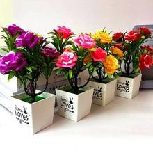 sztuczne kwiaty Artificial Potted Plant 7 Heads Rose Flower Bonsai Home Decoration Ornaments autumn decoration fall decor