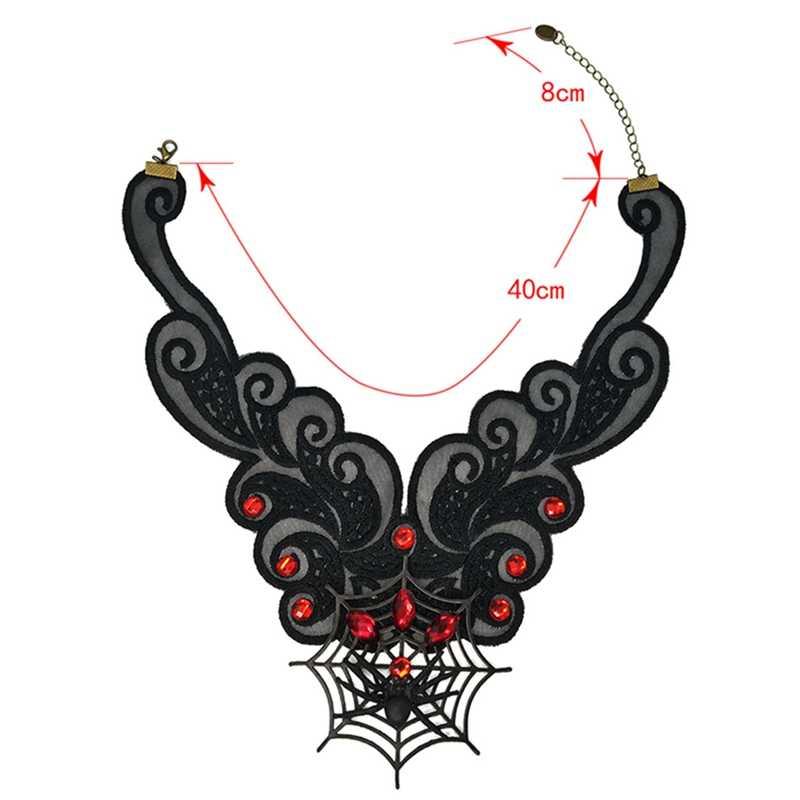 2019 Vintae الأسود المختنق قلادة تقليد طوق قلادة العنكبوت الويب قلادة هالوين مجوهرات اكسسوارات