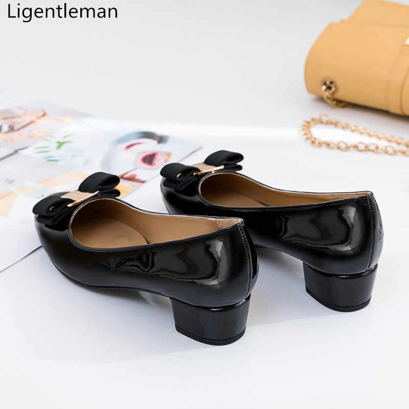 Đầm đen Phối Da Cổ Điển Giữa Gót Giày Người Phụ Nữ Cơ Bản Bơm 2021 Nơ Mùa Xuân, Mùa Thu Giày Công Sở Thời Trang Dự Tiệc Nữ Giày Nữ máy bơm
