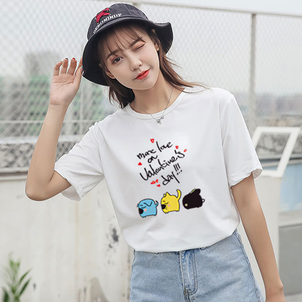 Fashion Women Summer T-Shirt Casual Short Sleeve Cartoon Pattern O-Neck  Loose Tops Female T Shirts Plus Size Woman Clothing NEW