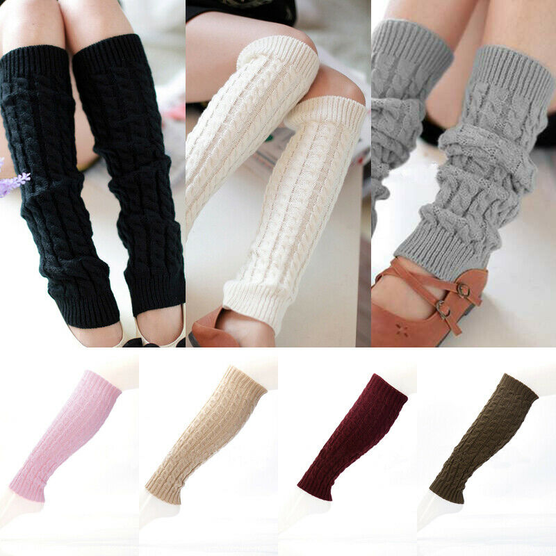 1 Pair Women Ladies Winter Warm Knit High Knee Leg Warmers Crochet Leggings Boot Socks Slouch Solid Color Korea Style