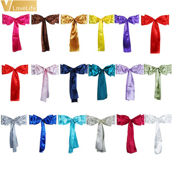50pcs High Quality Satin Chair Sash Bow Ties Banquet Wedding Party Home Baby Shower Cover Craft Decoration Supplies 6 x 108inch