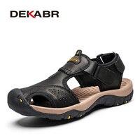 DEKABR nouveau été sandales hommes en cuir véritable de haute qualité plage en plein air sandales confortable chaussures souples en caoutchouc chaussures taille 48