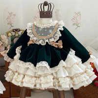 Vestido Vintage de terciopelo verde para niña, vestido de princesa Lolita con pompón español para cumpleaños y Navidad, Otoño e Invierno