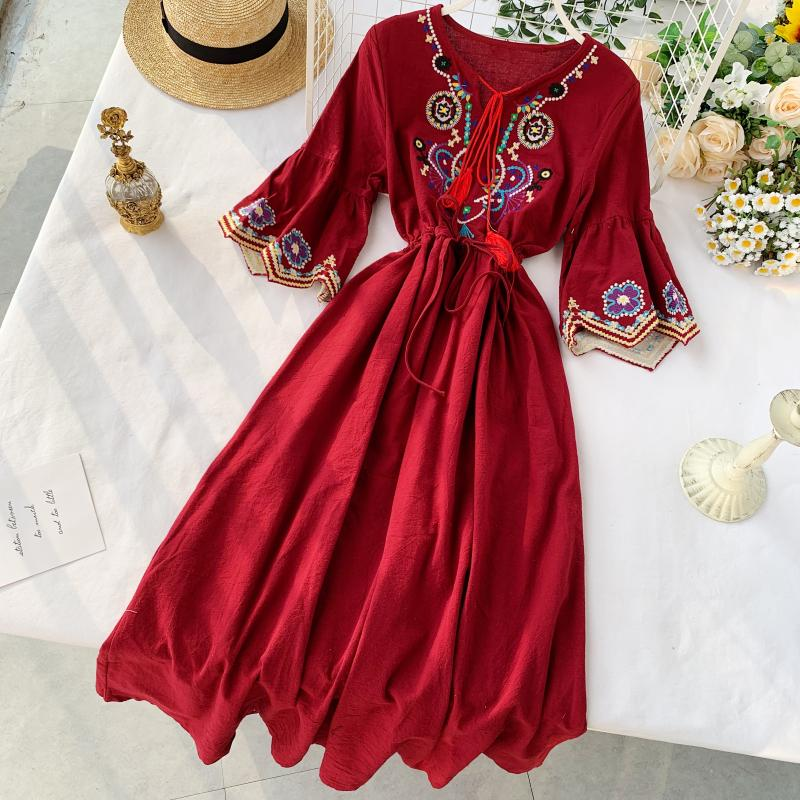 2019 New Fashion Women's Dresses  Bohemian National Style Dress Embroidery