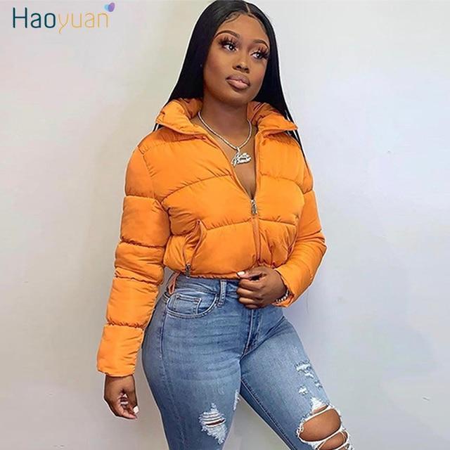 HAOYUAN Cropped Puffer Jacket for Women Winter Clothes Warm Parka Fashion Short Outwear Long Sleeve Zip Thick Down Bubble Coats 1