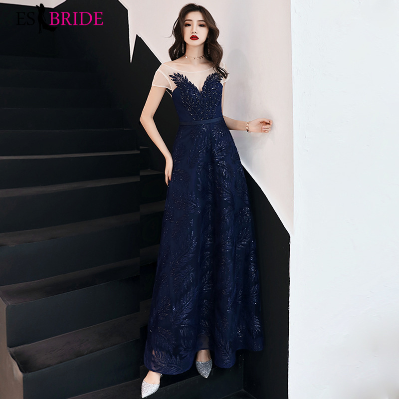 short sleeves   Evening     Dresses   Long 2019 Lace Appliques Women Naval blue/Wine red tulle Formal   Dress   for Wedding ES2826