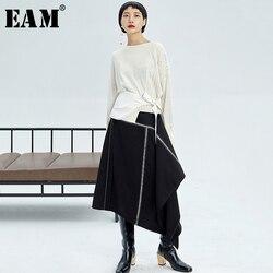 [EAM] تنورة عالية الخصر سوداء اللون المتباين تنورة غير متماثلة نصف الجسم موضة جديدة لربيع خريف 2020 1K720